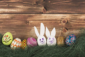 Pictures Holidays Easter Rabbit Wood planks Egg Grass