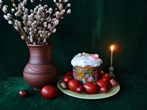 Bilder Feiertage Ostern Stillleben Kulitsch Kerzen Ast Vase Ei Design
