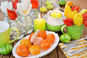 Bilder Feiertage Ostern Tulpen Kerzen Kaninchen Bretter Teller Eier