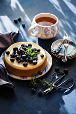 Wallpapers Cocoa Sweets Blueberries Pie Cup Plate