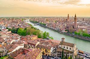 Photo Italy River Verona Houses From above Cities