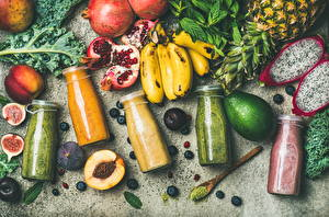 Picture Fruit Avocado Bananas Pomegranate Ficus carica Smoothy Bottle Food
