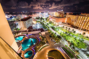 Wallpapers Mexico Building Roads Swimming bath Night Cancun Cities
