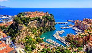 Bilder Monaco Monte-Carlo Gebäude Küste Schiffsanleger Schiff Felsen Bucht Städte