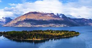 Pictures New Zealand Lake Mountain Island Marinas Lake Wakatipu Queenstown Nature