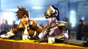 Bilder Overwatch tracer, Widowmaker, Lena Oxton Spiele 3D-Grafik Mädchens