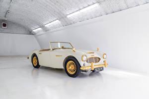 Wallpaper Retro Convertible White Metallic 1958 Austin Healey 100-6 Goldie Cars