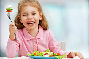 Pictures Salads Vegetables Little girls Happy Children