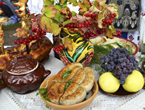 Pictures Sausage Grapes Sorbus Apples Pastry