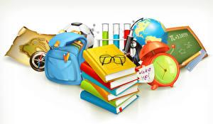 Wallpapers School Clock Handbag Vector Graphics White background Book Eyeglasses Globe