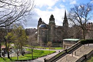 Tapety na pulpit Szkocja Edynburg Zamek Schody Miasta