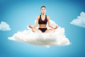 Fonds d'écran Ciel Position du lotus Nuage Yoga Ventre Main Filles