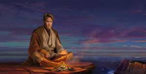 Bilder Star Wars  - Film Mann Ewan McGregor Funkenfeuer Fan ART Obi-Wan Kenobi Fantasy