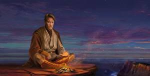 Pictures Star Wars - Movies Men Ewan McGregor Bonfire Fan ART Obi-Wan Kenobi Fantasy