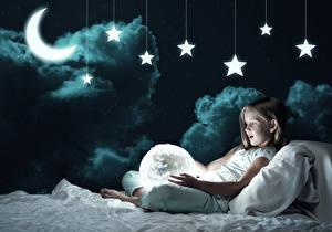 Fotos Stern Halbmond Kleine Mädchen Nacht Wolke Bett Kinder