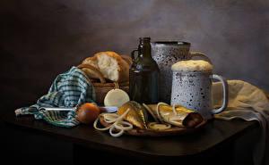 Pictures Still-life Beer Fish - Food Bread Onion Table Mug Foam Bottles Food