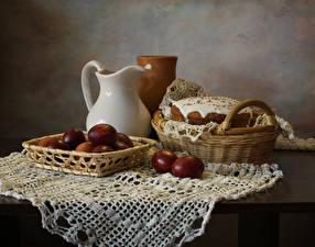 Hintergrundbilder Stillleben Ostern Kulitsch Tisch Kanne Weidenkorb Ei