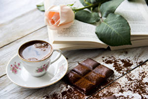 Picture Still-life Roses Coffee Chocolate Boards Wood planks Cup Cocoa solids Book Food