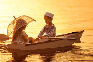 Pictures Sunrises and sunsets Boats Boys Little girls 2 Parasol Children