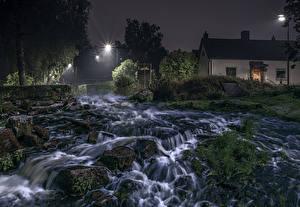 Fotos Schweden Flusse Haus Wasserfall Steine Nacht Laubmoose HDRI Natur