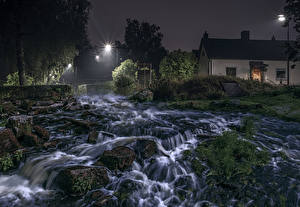 Pictures Sweden River Houses Waterfalls Stone Night Moss HDRI Nature