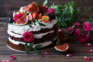 Fotos Süßware Torte Rosen Echte Feige Design Petalen