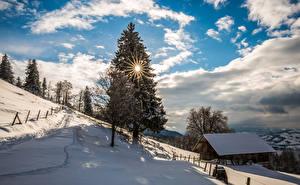 Fotos Schweiz Winter Himmel Gebäude Schnee Fichten Sonne Wolke Bäume Zugerberg Natur