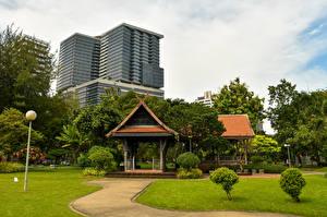 壁纸、、タイ王国、バンコク、公園、パゴダ、建物、低木、芝、自然