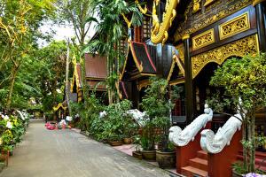 Bureaubladachtergronden Thailand Huizen Straat Ontwerp Chiang Rai Steden