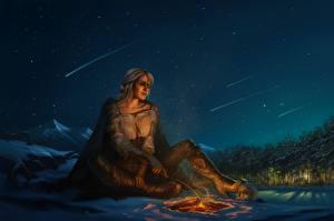 Hintergrundbilder The Witcher 3: Wild Hunt Himmel Fanart Funkenfeuer Nacht Ciri or the Lion Cub of Cintra, Cirilla Fiona Elen Riannon Spiele Mädchens