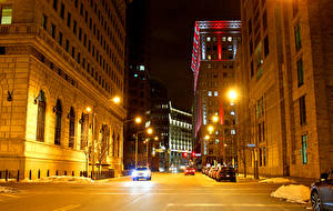 Photo USA Houses Street Night time Street lights Cleveland Cities