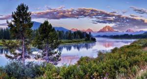 Bilder Vereinigte Staaten Park Gebirge Flusse Wälder Himmel Fichten Wolke Grand Teton National Park Natur