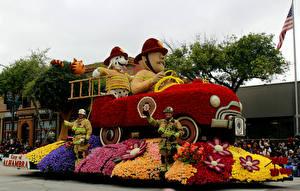Hintergrundbilder USA Park Rosen Feuerwehrfahrzeug Kalifornien Design Pasadena Blumen