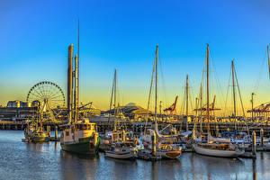Fotos Vereinigte Staaten Seattle Fluss Schiffsanleger Binnenschiff Segeln Morgendämmerung und Sonnenuntergang Yacht