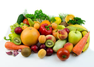 Photo Vegetables Fruit Apples Citrus Plums Bell pepper Peaches White background Food