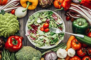 Wallpaper Vegetables Salads Pepper Tomatoes Garlic Fork Food