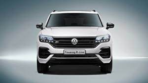 Fotos Volkswagen Vorne Weiß Touareg 2018 R-Line automobil