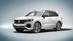 Hintergrundbilder Volkswagen Weiß Touareg 2018 R-Line automobil