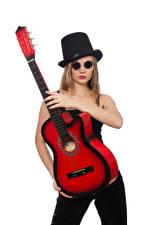Photo White background Blonde girl Hat Glasses Guitar Girls