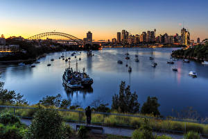 Bilder Australien Gebäude Abend Binnenschiff Sydney Bucht