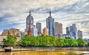 Hintergrundbilder Australien Melbourne Gebäude Wolkenkratzer Flusse Bäume Städte