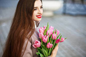 Pictures Bouquets Tulips Brown haired Smile Hair Girls