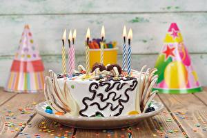Fotos Torte Geburtstag Kerzen Lebensmittel