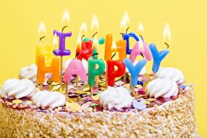 Wallpapers Torte Candles Birthday Closeup Food