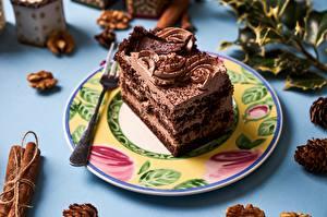 Fotos Torte Schokolade Stück Teller