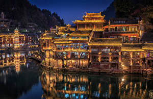 Image China Houses Rivers Street lights Night Hunan Province Cities