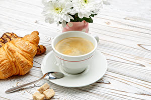Wallpapers Coffee Croissant Cup Spoon Food