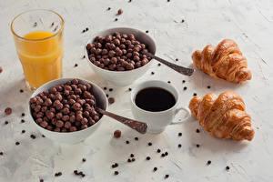 Wallpapers Coffee Croissant Juice Breakfast Cup Highball glass Grain Food