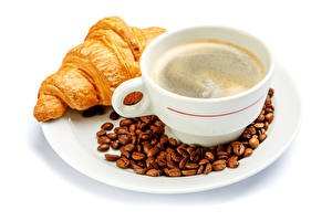 Picture Coffee Croissant White background Plate Cup Grain