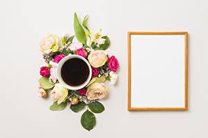 Fondos de escritorio Café Rosas Dianthus Alstroemeria Fondo gris Tarjeta de felicitación de la plant Taza flor